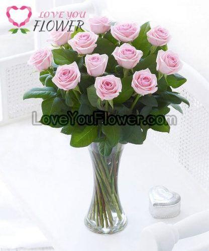 แจกันดอกไม้ Korin ดอกกุหลาบชมพู