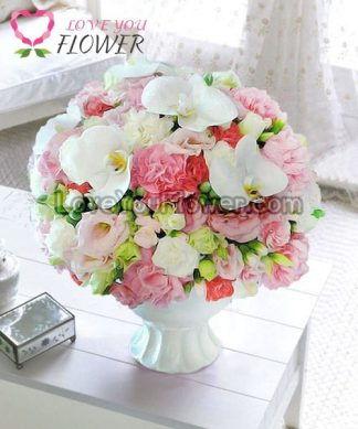 แจกันดอกไม้ Aliz ดอกคาร์เนชั่นชมพู ดอกคาร์เนชั่นขาว