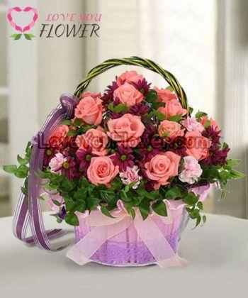 กระเช้าดอกไม้ Vanessa ดอกกุหลาบ ดอกคาร์เนชั่น