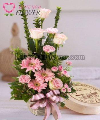 แจกันดอกไม้ Ginny ดอกกุหลาบ ดอกเยอบีร่า