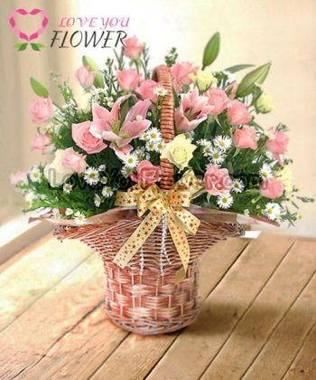 กระเช้าดอกไม้ Ederra ดอกกุหลาบ ดอกลิลลี่