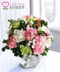 แจกันดอกไม้ Rene ดอกกุหลาบ ดอกคาร์เนชั่น