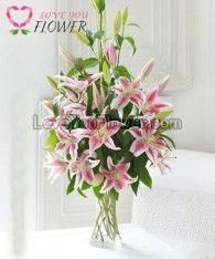 แจกันดอกไม้ Liliana ดอกลิลลี่ชมพู