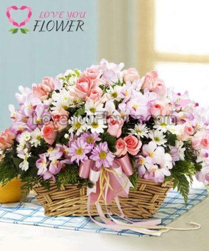 กระเช้าดอกไม้ Abeo ดอกกุหลาบ ดอกกล้วยไม้