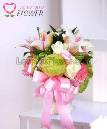 แจกันดอกไม้ Leisha ดอกลิลลี่ชมพู ดอกกุหลาบ