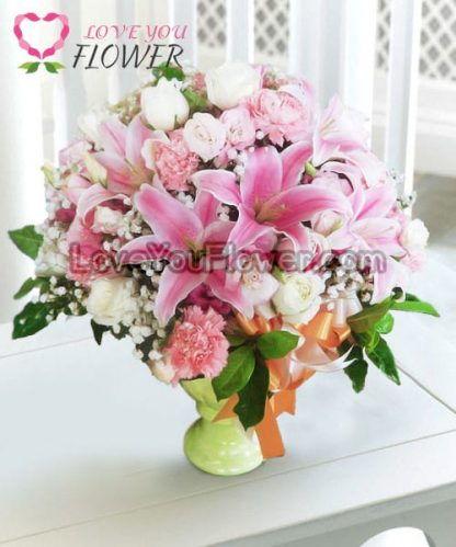 แจกันดอกไม้ Tadara ดอกลิลลี่ ดอกกุหลาบ