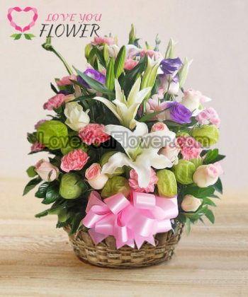 กระเช้าดอกไม้ Ilaina ดอกลิลลี่ ดอกกุหลาบ