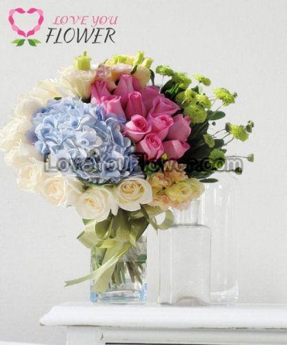 แจกันดอกไม้ Randie ดอกกุหลาบ ดอกไฮเดรนเยีย