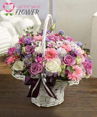 กระเช้าดอกไม้ Kenisha ดอกกุหลาบ ดอกเยอบีร่า