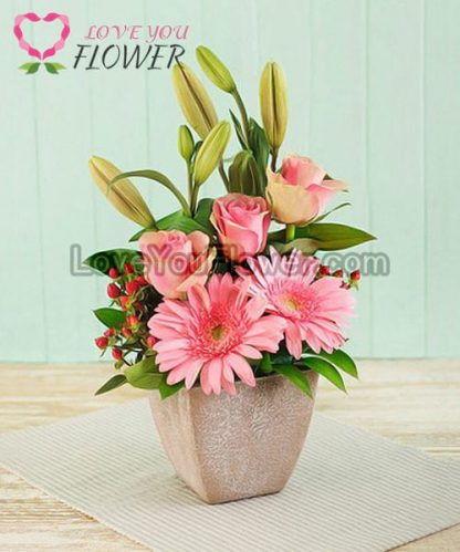 แจกันดอกไม้ Donita ดอกเยอบีร่า ดอกกุหลาบ