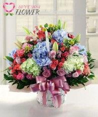 กระเช้าดอกไม้ Celestia ไฮเดรนเยียฟ้า ไฮเดรนเยียเขียว