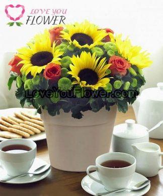 แจกันดอกไม้ Bertina ดอกทานตะวัน ดอกกุหลาบ