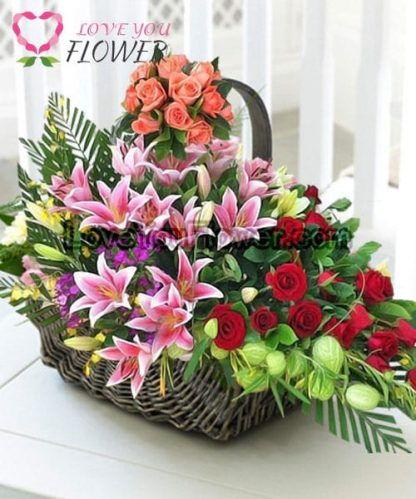 กระเช้าดอกไม้ Shae-Lynn ดอกกุหลาบ ดอกลิลลี่