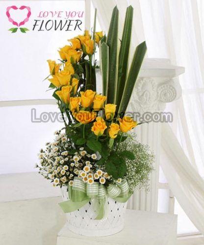 แจกันดอกไม้ Madeline ดอกกุหลาบ ดอกคัตเตอร์