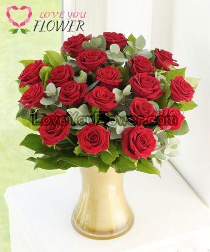 แจกันดอกไม้ Roisin ดอกกุหลาบแดง