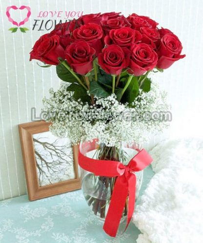 แจกันดอกไม้ Rosalina ดอกกุหลาบ ดอกยิปโซ