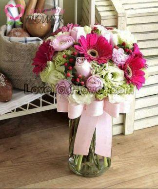แจกันดอกไม้ Qinna ดอกกุหลาบ ดอกเยอบีร่า