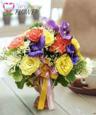 แจกันดอกไม้ Merry ดอกกุหลาบ ดอกคาร์เนชั่น