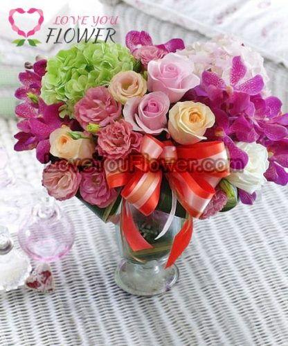 แจกันดอกไม้ Dahlia ดอกกุหลาบ ดอกไฮเดรนเยีย