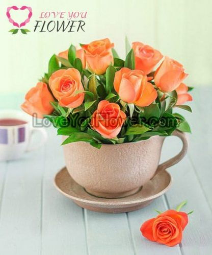 แจกันดอกไม้ Hope ดอกกุหลาบส้ม