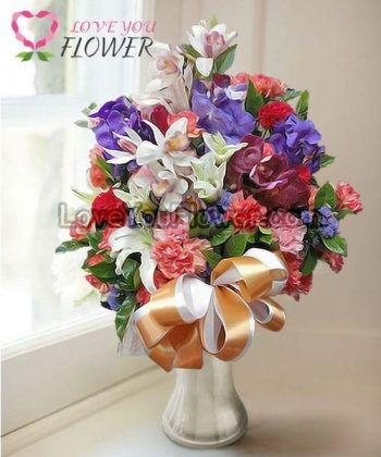 แจกันดอกไม้ Huilen ดอกกล้วยไม้ ดอกลิลลี่