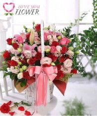 กระเช้าดอกไม้ Haru ดอกกุหลาบ ดอกลิลลี่