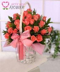 กระเช้าดอกไม้ Rosita ดอกกุหลาบ