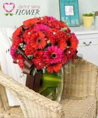 แจกันดอกไม้ Reina ดอกเยอบีร่า ดอกคาร์เนชั่น