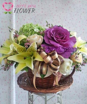 กระเช้าดอกไม้ Demeter ดอกลิลลี่ ดอกไฮเดรนเยีย