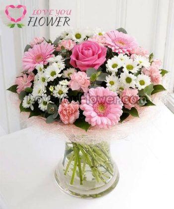 แจกันดอกไม้ Fiora ดอกกุหลาบ ดอกมัม