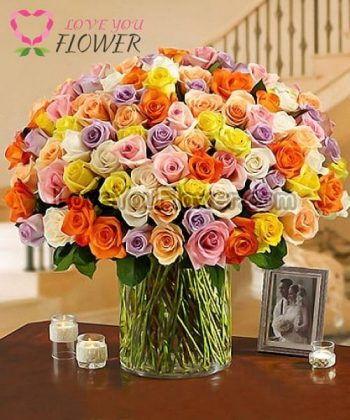 แจกันดอกไม้ Rosangelica ดอกกุหลาบ