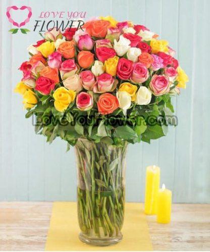 แจกันดอกไม้ Vaneda ดอกกุหลาบ