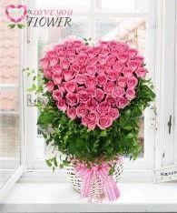 กระเช้าดอกไม้ Mandy ดอกกุหลาบชมพู