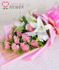 ช่อดอกไม้ Euthalia ดอกคาร์เนชั่นชมพู