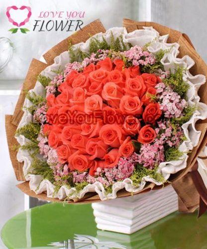 ช่อดอกไม้ Tiara ดอกกุหลาบส้ม