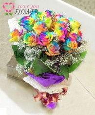 ช่อดอกไม้ Cera ดอกกุหลาบสีรุ้ง