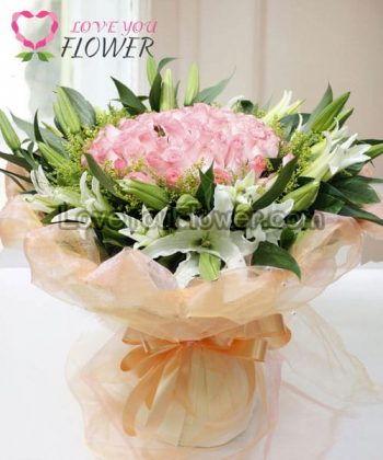 ช่อดอกไม้ Delilah ดอกกุหลาบชมพู