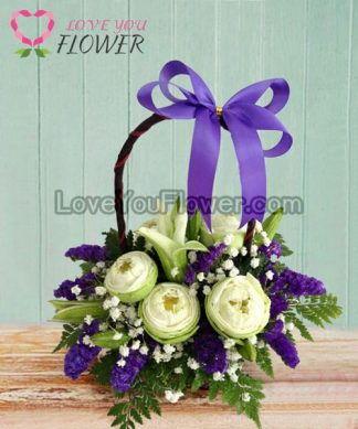 กระเช้าดอกไม้ Merita ดอกบัว ดอกลิลลี่ขาว