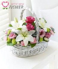 กระเช้าดอกไม้ Harmonia ดอกกุหลาบชมพู