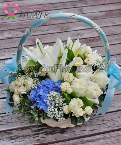 กระเช้าดอกไม้ Delmar ดอกมะลิ ดอกกุหลาบ