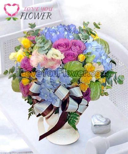 ช่อดอกไม้ Lani ดอกกุหลาบม่วง