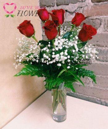 แจกันดอกไม้ Arunita ดอกกุหลาบแดง ยิปโซ