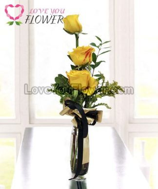 แจกันดอกไม้ Patricia ดอกกุหลาบเหลือง