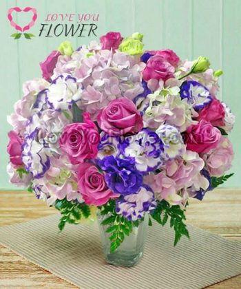 แจกันดอกไม้ Aura กุหลาบม่วง