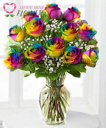 แจกันดอกไม้ Ixchel ดอกกุหลาบรุ้ง