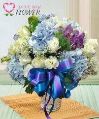 แจกันดอกไม้ Marina ดอกกุหลาบขาว ดอกไลเซนทัสขาว