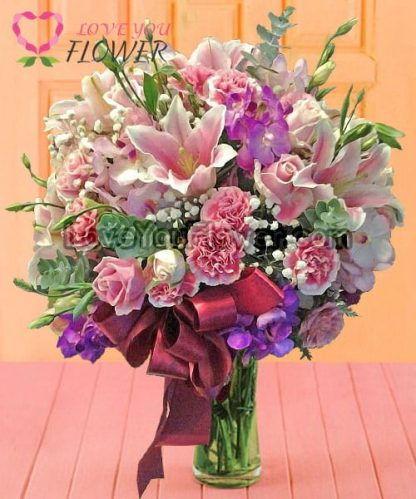 แจกันดอกไม้ Rexanne ดอกลิลลี่ชมพู