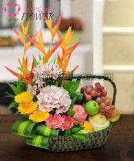 กระเช้าผลไม้รวม Poria ส้ม แอปเปิ้ล องุ่น สาลี่
