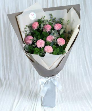 ช่อดอกเบญจมาศสีชมพู