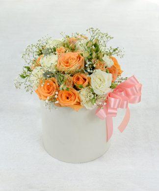 กล่องดอกกุหลาบสีส้ม